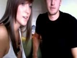 Super Hot Brunette Sucks Her Boyfriend's Cock on Webcam