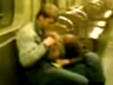 Dude gets a great blowjob in a deserted subway car