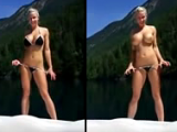 Hot blonde on vacation in the mountains sucks on boat