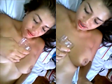 She doesn't look happy to drink his cum