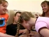 Teen boy is lucky with 3 teen girls sucking his dick