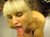 Beautiful blond blowjob & facial