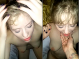 Sexy Blonde Cum Slut on Her Knees Taking a Massive Facial