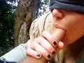 Handjob and blowjob in woods from gf with blindfold