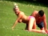Crazy hot chick in a public park
