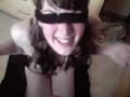 Amateur girl gets blindfolded and cummed on
