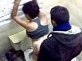 Ghetto girlfriend public toilet fuck