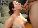 Small dick guy cums on face