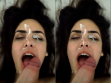 She did a good job and he gave a massive cumshot into her face!