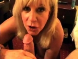Blonde mature hungrily chows down his stiff, tasty cock