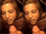 Cute blond big facial cumshot