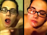 Jizzing all over my girlfriend's face - compilation