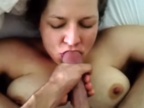 Wife Giving Beautiful BlowJob - Swallows Cum