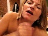 Amateur facial warm jizz on her pretty face