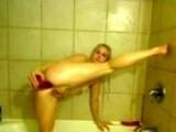 Anal masturbation in bathroom