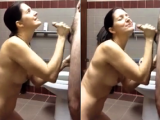 Hot ass wife public restroom facial