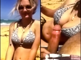 Busty blonde wife sucks at the beach