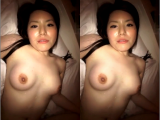 Amateur Asian gf with hairy cunt being fucked then cummed on