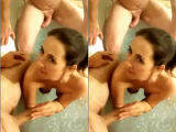 Bathroom Threesome Blowjob