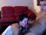 Dude Gets A Blowjob From His Hot Brunette GF On The Sofa