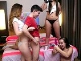 Naughty schoolgirls having fun with their big dicked classmate