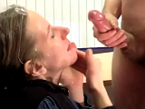 Nerdy wife uses cum for face lotion