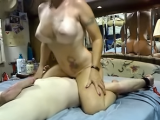 Milf rides face dildo and sucks cock