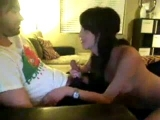 Cute brunette blows her boyfriend on webcam