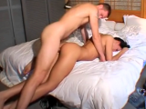 Man fucking his pretty girlfriend hard on bed