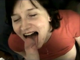 Sucking cock and eating cum with her heavy breasts out!