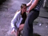 Dirty bitch gives amateur public blowjob