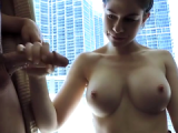 WOW Super hot chick with big tits sucks cock
