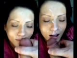 Big loads of cum on her BEAUTIFUL face!