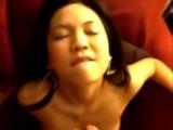 Mia Asian GF sucking and taking a facial