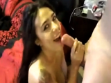 Sexy latina sucks and fucks big cock for cum facial