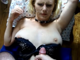 Supple mature take a slow mo huge load to the face and tits