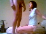 Skinny japanese girlfriend strips and sucks dick
