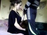 Russian Girl Giving Her BF A Blowjob