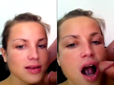 Smartphone video of sweet girlfriend giving wonderful blowjob