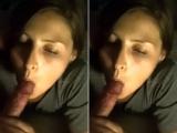 Sucks him off & makes him cum on her belly