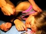 Cumshot wake up call for a drunk girl