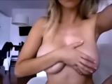 Sweet blonde girl with natural boobs gives an amazing blowjob