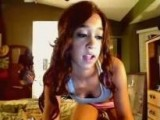 Curly brunette strip on webcam